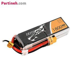باتری لیتیوم پلیمر ۱۴٫۸ ولت ۱۸۰۰ میلی آمپر ۷۵C مارک TATTU