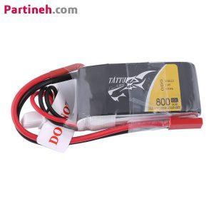 باتری لیتیوم پلیمر ۷٫۴ ولت ۸۰۰ میلی آمپر ساعت ۴۵C مارک TATTU