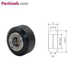 چرخ هرزگرد رباتیک پلاستیکی ۱۵٫۳*۹ قطر داخلی ۵mm