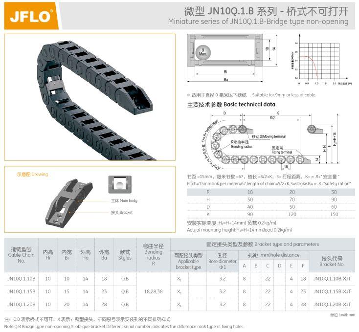 انرژی چین (Energy chain) برند جفلو (JFLO) ساخت چین ابعاد 10*10 میلیمتر