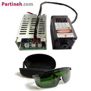 ماژول لیزر ۱۲ ولت ۱۰ وات به همراه پاور و عینک محافظ با فوکوس متغیر