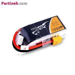 باتری لیتیوم پلیمر ۱۱٫۱ ولت ۱۵۵۰mAh 75C برند TATTU