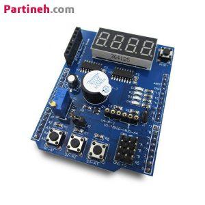شیلد چند کاره آردوینو (سنجش دما، راه انداز موتور، بلوتوث، ورودی و خروجی دیجیتال و …) XD-203