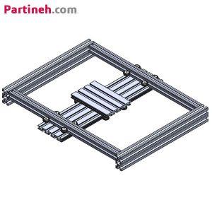 ماژول حرکت صفحه ای دو بعدی با کورس حرکتی ۳۰*۲۰ سانتیمتر به کمک چرخ هرزگرد بلبرینگی